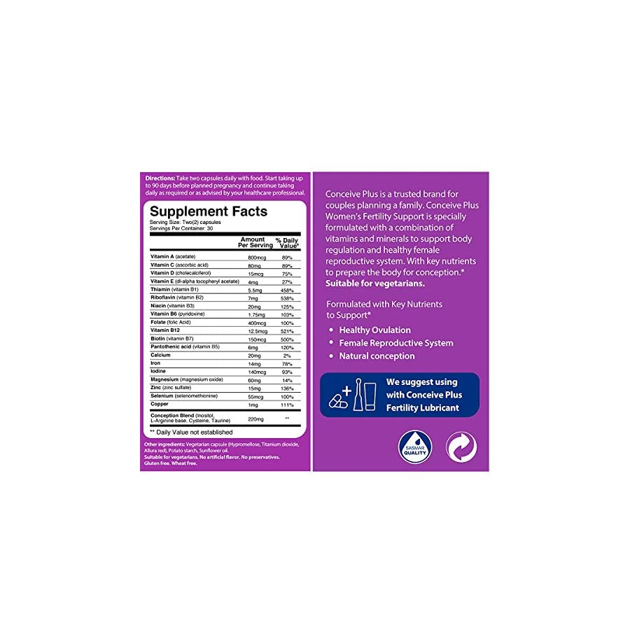 Conceive Plus Women Fertility Supplements, Prenatal Vitamin Fertility Pill For Healthy Ovulation To Get Pregnant Faster and PCOS, 60 Caps