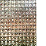 decorative door cover - RABBITGOO 3D Window Films Privacy Film Static Decorative Film Non-Adhesive Heat Control Anti UV 17.5In. by 78.7In. (44.5 x 200Cm),Brown