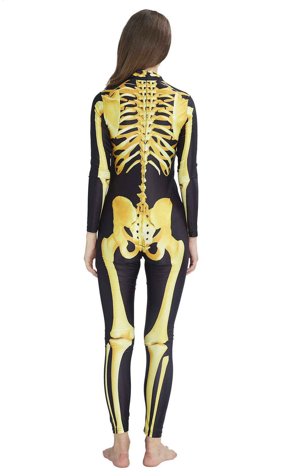 RAISEVERN Women\'s Halloween Jumpsuit Print 3D Digital Zombie Print Skeleton Bodysuit Slim Fit Gold Yellow Skull Costume Unique Tights Skin Suit Catsuit Jumpsuit for Holiday Night Party