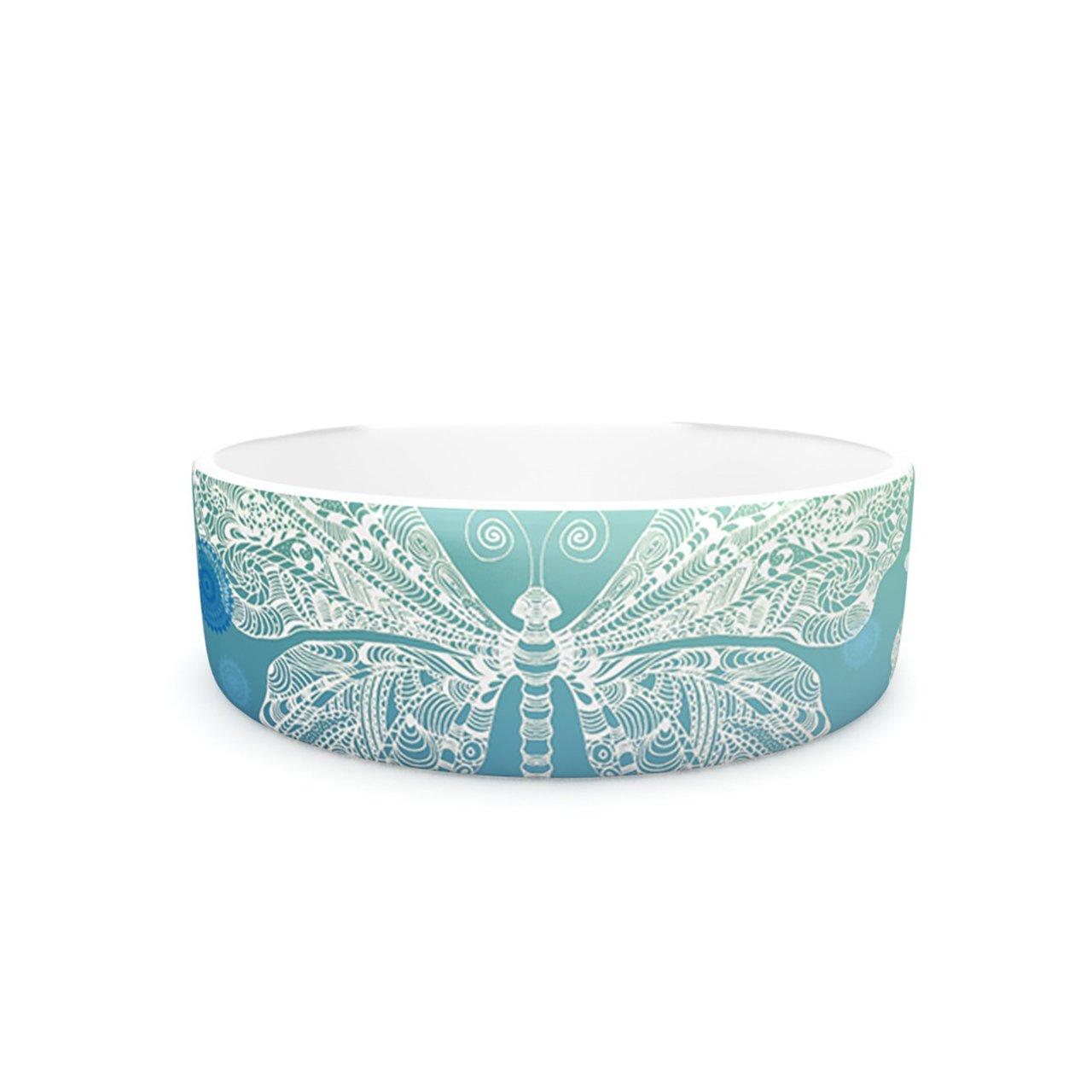 Kess InHouse Monika Strigel Butterfly Dreams Ocean  Pet Bowl, 7-Inch, bluee Green