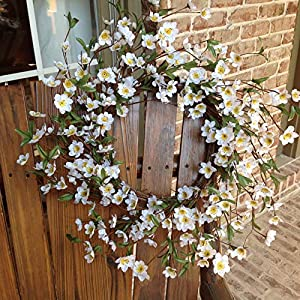 "Flora Decor White Cherry Blossom Wreath - 24"" 81"