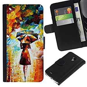 iKiki Tech / Cartera Funda Carcasa - Painting Colorful Girl Woman Umbrella Art - Samsung Galaxy S4 Mini i9190 MINI VERSION!