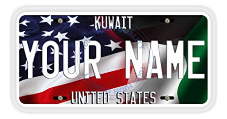 BRGiftShop Personalize Your Own Mixed USA and Canada Flag Car Vehicle 6x12 License Plate Auto Tag