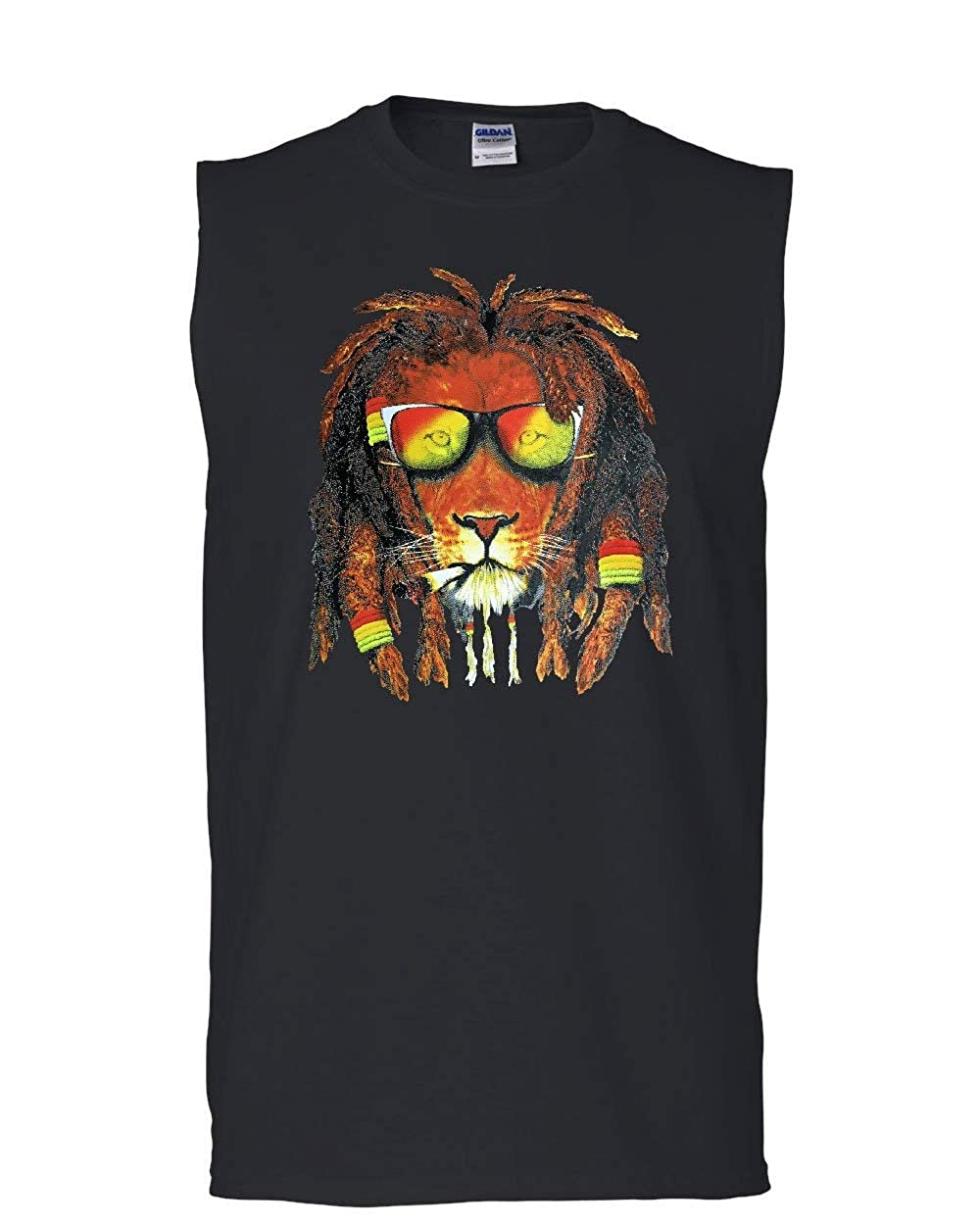 Tee Hunt Rasta Lion Smoking Weed Muscle Shirt 420 Jamaica Jah Reggae Pot Cush Sleeveless
