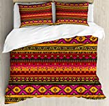 Aztec Duvet Cover Set King Size by Lunarable, South American Abstract Borders Mexican Peruvian Folk Art Elements Boho Doodle, Decorative 3 Piece Bedding Set with 2 Pillow Shams, Pink Green Orange