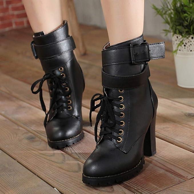 Mujer Botas tacón Alto Botas Zapatos Invierno Calientes Zapatos de tacón Alto Zapatos de Mujer con Punta Redonda Botas de Cuero Martin Botas con Cordones ...
