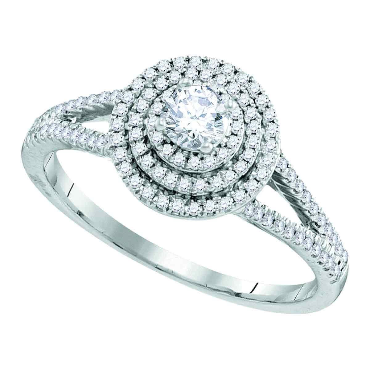 fe4a79a19520 Anillo de compromiso de boda de oro blanco de 10 quilates para mujer ...