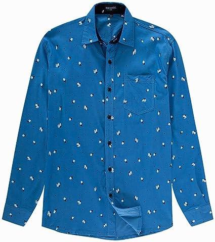 LIUXING-TUMI - Camisa de Manga Larga de algodón para Hombre ...