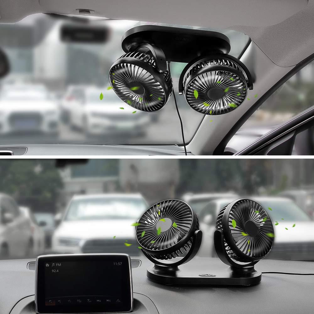 B/üro leise 12 V 360 /° drehbar 3 Geschwindigkeiten 2 Steckdosen f/ür Auto R/ücksitz LKW doppelter Kopf PC Camping USB-Ventilator f/ür Auto