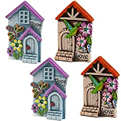 Set Of 4 Miniature Fairy Garden Mystical House With Door Gnome Statue Sculpture Figurine Village Decor For Indoor Outdoor Home Terrarium Yard Patio Lawn Garden Planter Pot Party Supplies Accessories