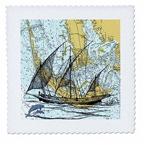 3dRose qs_204897_4 Print of Sanibel & Captiva with Ghost Ship Quilt Square, 12 by 12
