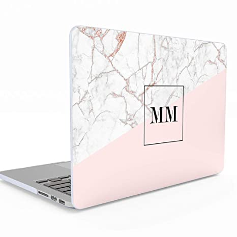 best website cf10f afe5b Personalised Rose Gold Pink Marble Initials Name Letters Custom  Customizable Personal MacBook Air 13 inch Case with Retina Display and  Touch ID, ...