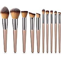 Set de Brocha para Maquillaje Suave 10 Unids Champagne Gold Set de Brocha para Maquillaje Base de Sombra de Ojos Ceja Blush Brush Herramientas de Belleza