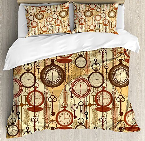 et Cover Set by Ambesonne, Retro Style Old Nostalgic Watches Feathers and Keys 1920s Bohemian Art Prints, Decorative 3 Piece Bedding Set with 2 Pillow Shams, Brown Red Yellow ()