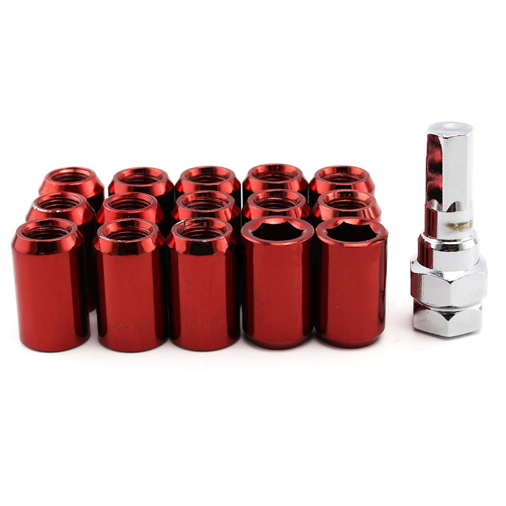 RONSHIN 16 Pcs/Set M12 1.5/1.25 Hexagon Drive Lug Nuts Refit Lightweight Wheel Nuts Cone Acorn Taper Seat + 1 Anti-theft Screw