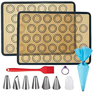 """XIAOCAI Macaron Silicone Baking Mats Kit, Reusable High Temperature Food Safety Silicone Baking Mat, Suitable for Making Macarons, Pastries, Pizza, Bread(16.5""""x11.8"""")"""