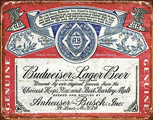 Desperate Enterprises Budweiser Historic Label Tin Sign, 16