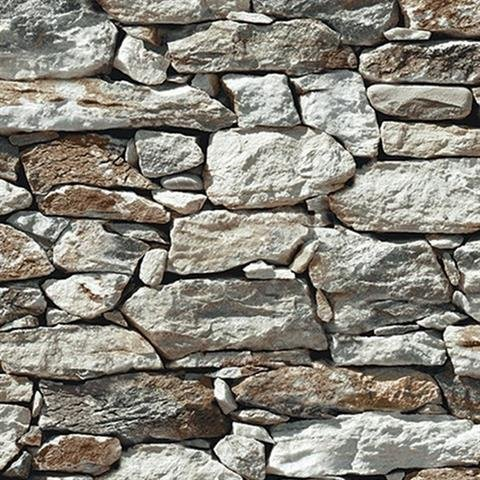 Wallpaper Faux Smooth Rock and Stone Wall Gray White Rust Black, Looks Real Up! (Washable Wallpaper)