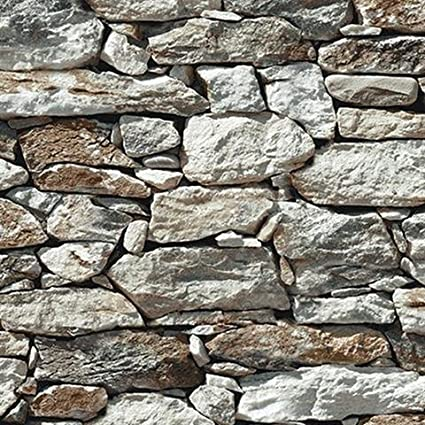 wallpaper faux smooth rock and stone wall gray white rust black