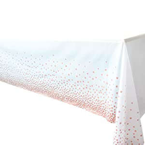 "4 Pack - Plastic Tablecloths for Rectangle Tables,- Rose Gold Dot Confetti Party Table Cloths Disposable,Rectangular Table Covers, for Parties Thanksgiving Christmas Wedding, Anniversary,- 54"" x 108"""
