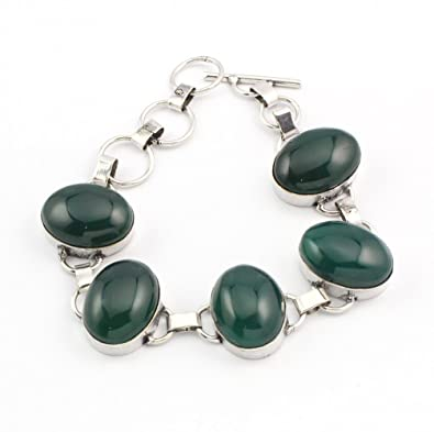 925 Sterling Silver Overlay Good Quality Green Onyx Bracelate Handmade Jewelry