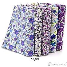 "RayLineDo 5X Different Pattern Purple 100% Cotton Poplin Fabric Fat Quarter Bundle 46 x 56cm ( Appox 18"" x 22"") Patchwork Quilting Fabric"