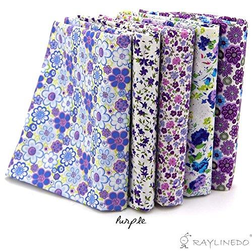 RayLineDo 5X Different Pattern Purple 100% Cotton Poplin Fabric Fat Quarter Bundle 46 x 56cm ( Appox 18