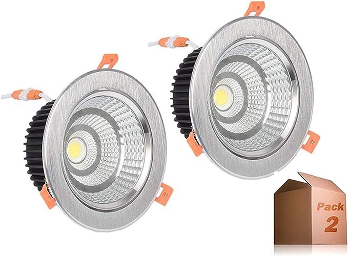 Foco Downlight LED 12W (Pack 2) 6000k-6500k Blanco Frío Aro ...