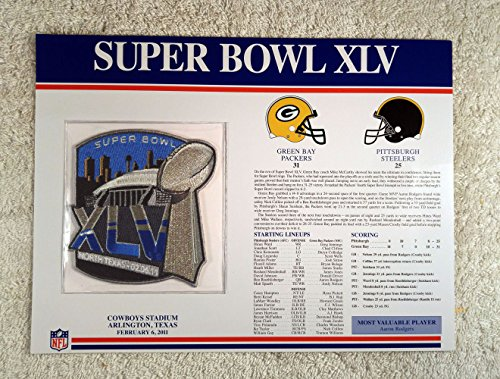 Super Bowl Xlv  2011    Official Nfl Super Bowl Patch With Complete Statistics Card   Green Bay Packers Vs Pittsburgh Steelers   Aaron Rodgers Mvp
