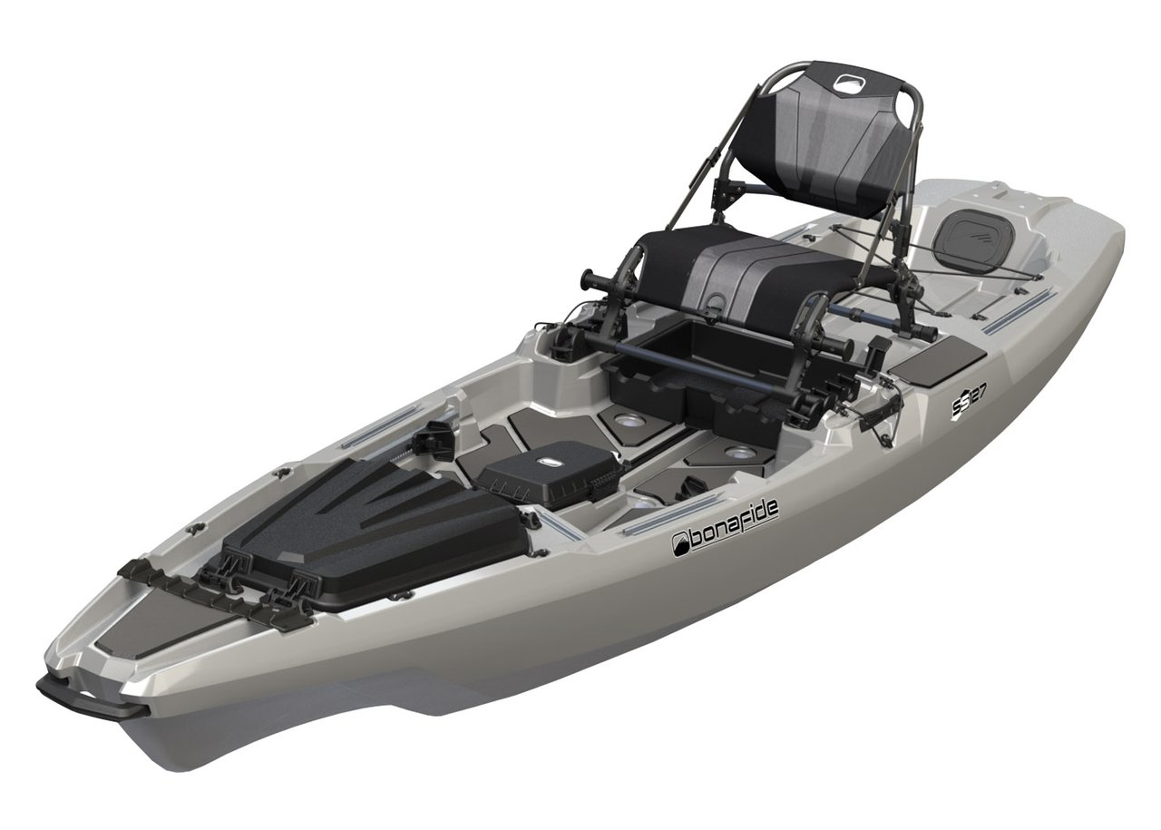 Bonafide SS127 Ultimate Sit on Top Fishing Kayak With Built in Storage , HiRise Seat , Hybrid Cat Hull Design For Maximum Stability With Free Three Belles Outfitters Performance T-Shirt (Top Gun Grey) by Bona Fide