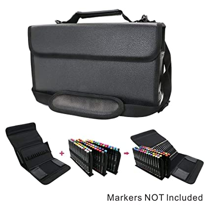 4929820614d4 YOUSHARES Marker Case Organizer - 80 Slots Carrying PU Leather Storage  Marker Case Lipscense Holder for Prismacolor Copic Touch Spectrum Noir  Paint ...
