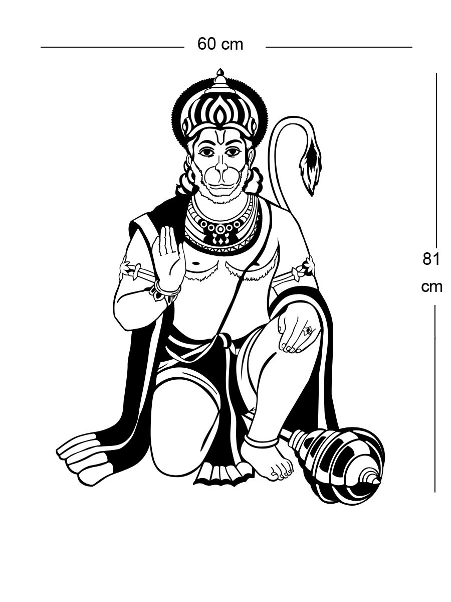 Buy trends on wall lord hanuman wall decals 60 cm x 81 cm online at low prices in india amazon in