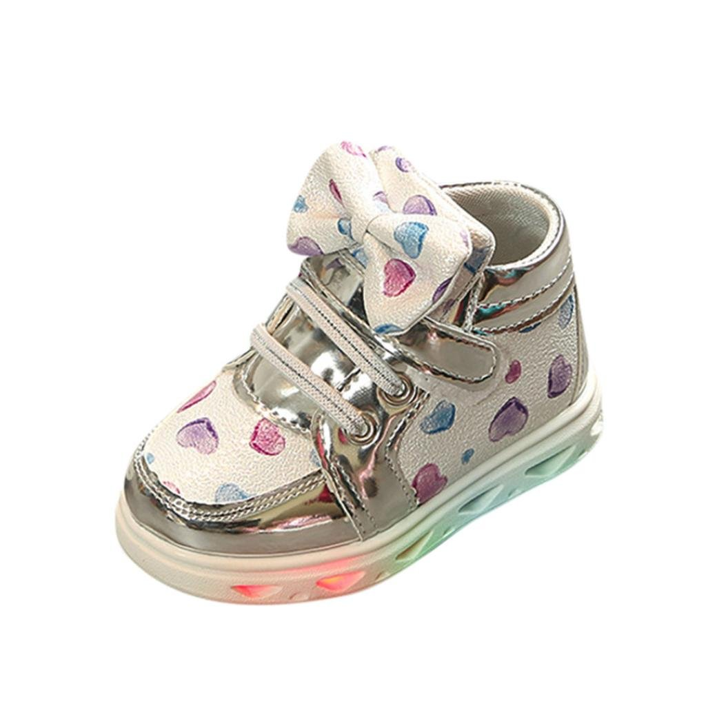 Amanod Toddler Baby Fashion Sneakers Heart Luminous Child Casual Colorful Light Shoes