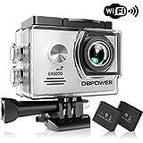 DBPOWER Authentique Caméra d'action et de Sport Étanche EX5000 WiFi 14MP Full HD avec 2 Batteries Améliorées et Accessoires Gratuits (Blanc)