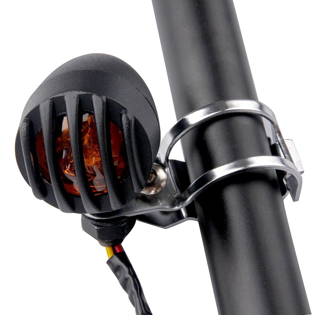 LEAGUE/&CO 2x Support Clignotant Moto 12mm de Montage Pinces de Fourche Oreille 30-45mm Pour Harley Chrome