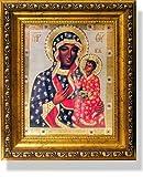 Byzantine Our Lady of Czestochowa Russian Icon Virgin of Czestohova 8 1/4 Inch