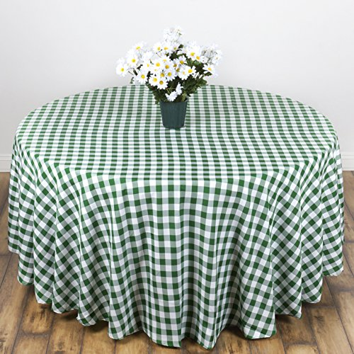 LinenTablecloth 90-Inch Round Polyester Tablecloth Green & White Checker ()