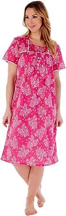 Slenderella Ladies 100% Cotton Short Sleeve Floral Nightdress UK 10-26 Various Designs