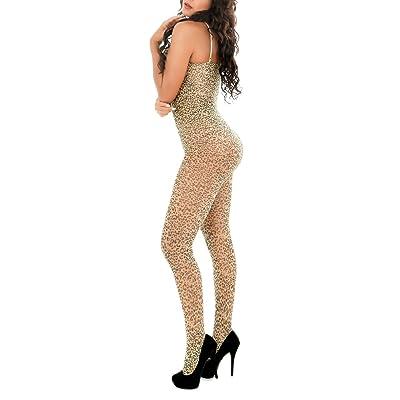 Adesugata Combinaison longue sexy femme Transparente Style léopard