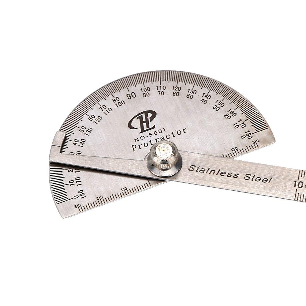 Anself en acier inoxydable Tê te ronde Goniomè tre rapporteur d'Angle rotative Professional Outil Rè gle de mesure