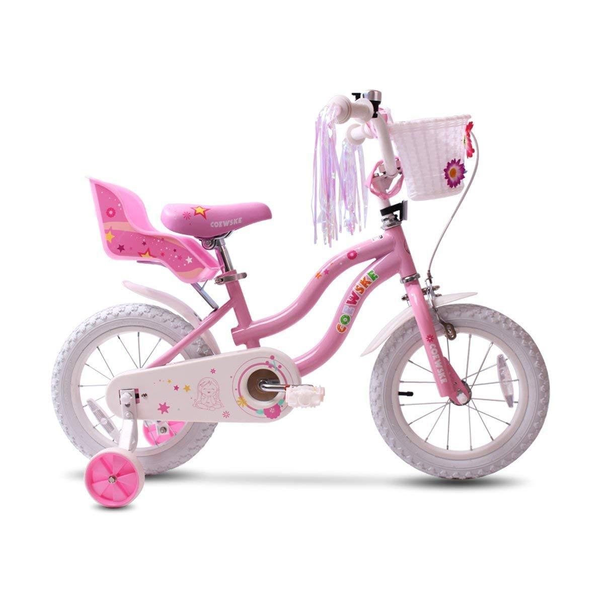 Rosa COEWSKE Bicicleta para ni/ños con Marco de Acero para ni/ños Little Princess Style 14 Pulgadas con Rueda de Entrenamiento