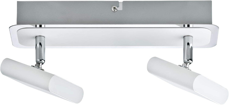 Paulmann 66635 Spotlight Launcher 2x4,5W Wei/ß geb/ürstet//Chrom 230V Metall 666.35 Deckenleuchte Lampe LED Deckenlampe Deckenstrahler