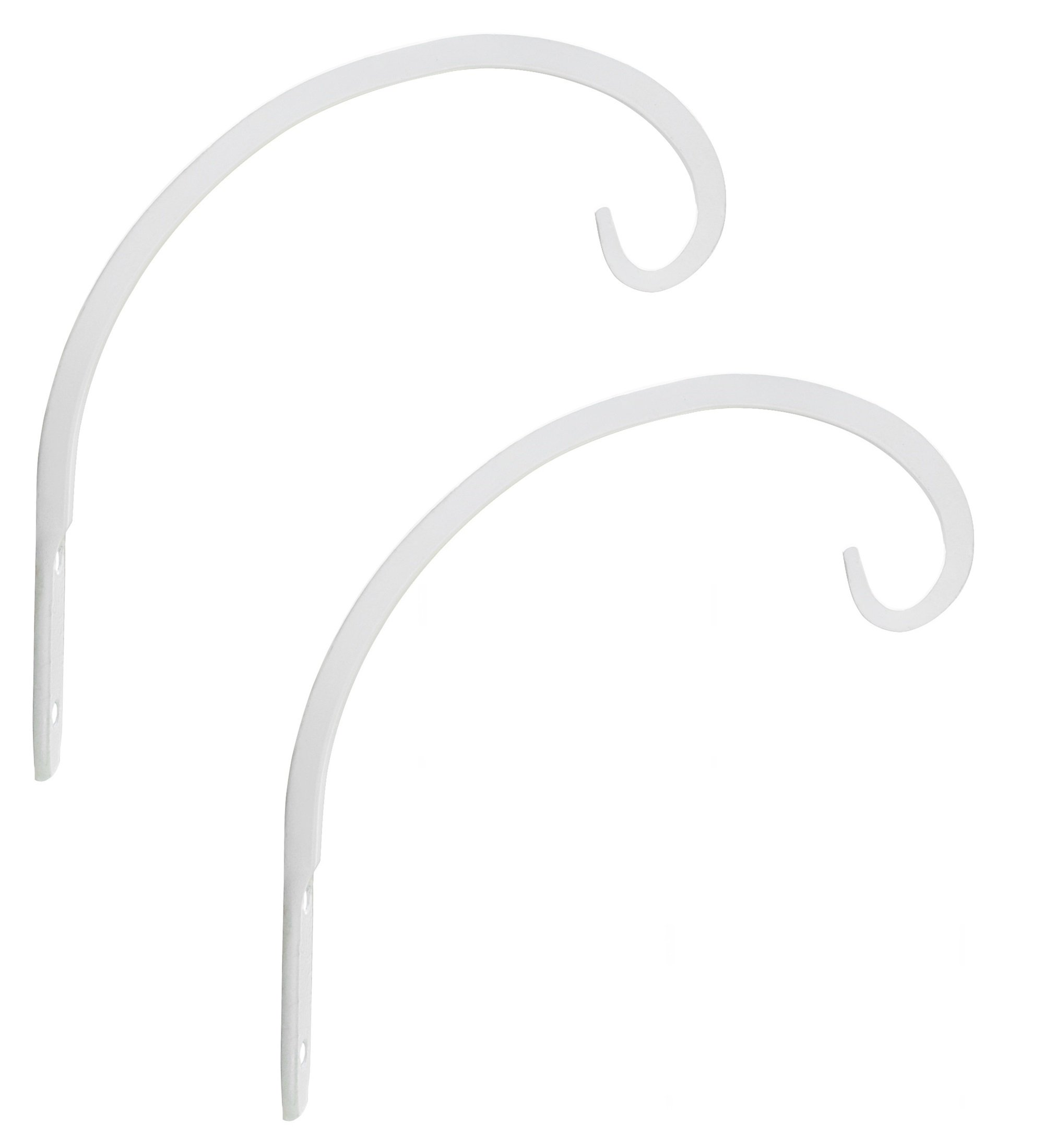 GrayBunny GB-6864B Hand Forged Curved Hook, 8.5 Inch, White, 2-Pack, For Bird Feeders, Planters, Lanterns, Wind Chimes, As Wall Brackets and More!