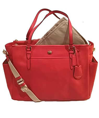 47484ded7b68 Amazon.com   Coach Peyton Saffiano Multifunction Tote Diaper Travel Laptop  Shoulder Messenger Bag Persimmon   Baby