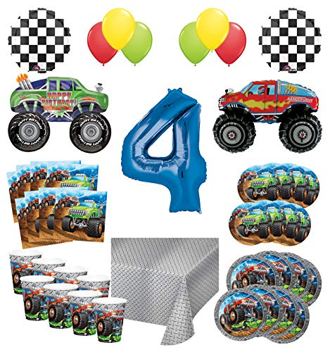 Mayflower Products Monster Truck Rally 4th Birthday Party Supplies 8 Guest Decoration Kit with Green and Red Monster Truck Balloon Bouquet -