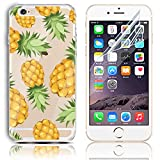 iphone 5s Case, iPhone SE Case, Sunroyal Slim Transparent [Cushion] TPU Silicone Gel Soft Rubber Bumper Flexible Case + Anti Fingerprint Clear Screen Protector For Apple Iphone 5 5S SE - Yellow Pineapple Fruit Pattern