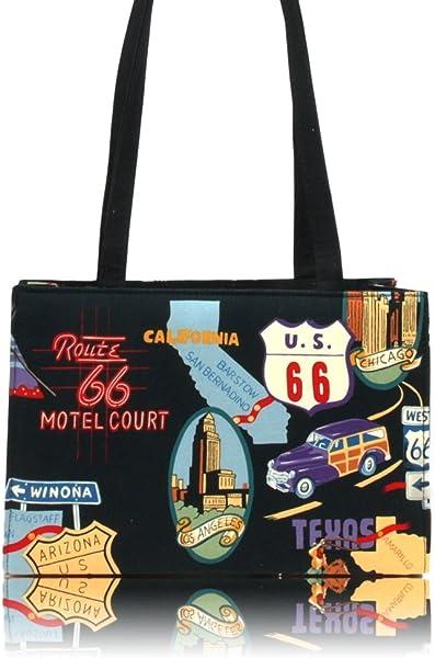 b0f81e94ec US HANDMADE FASHION ROUTE 66 ROCKABILLY RETRO 50 s Pattern Handmade handbag  purse COTTON fabrics
