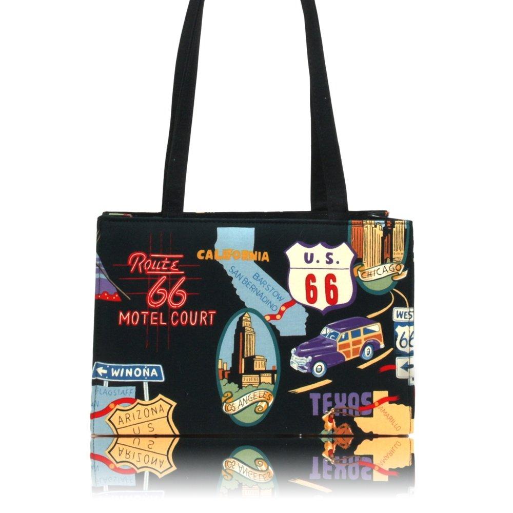 US HANDMADE FASHION ROUTE 66 ROCKABILLY RETRO 50's Pattern Handmade handbag purse COTTON fabrics, BX 3152