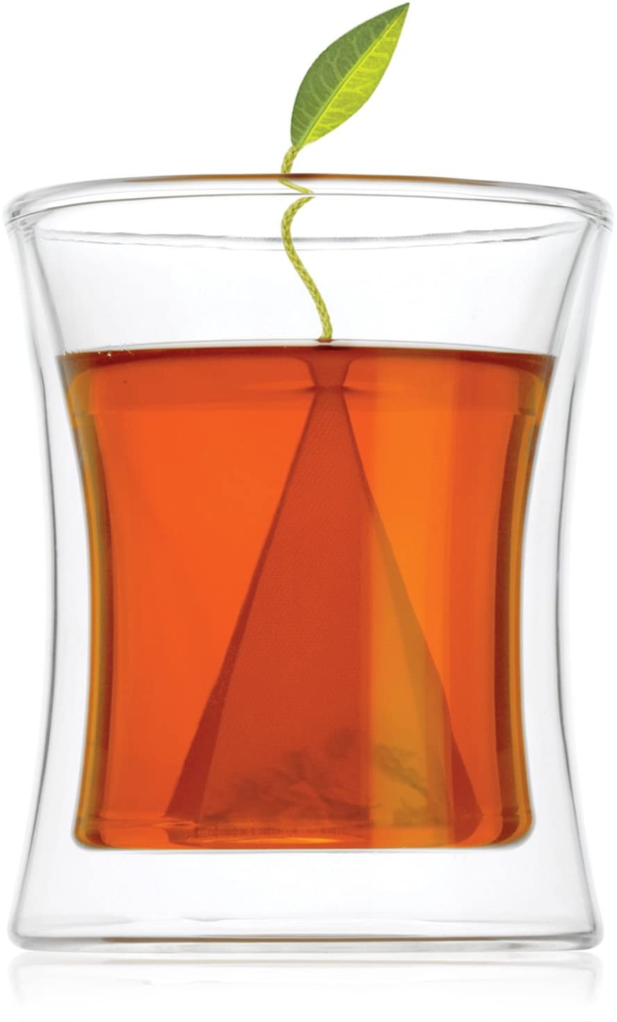Tea Forte Poom Double Wall Glass Tea Cup for Hot Tea or Iced Tea