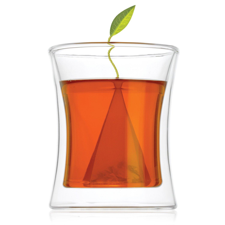 Tea Forte POOM Double Wall Glass Tea Cup for Hot Tea or Iced Tea